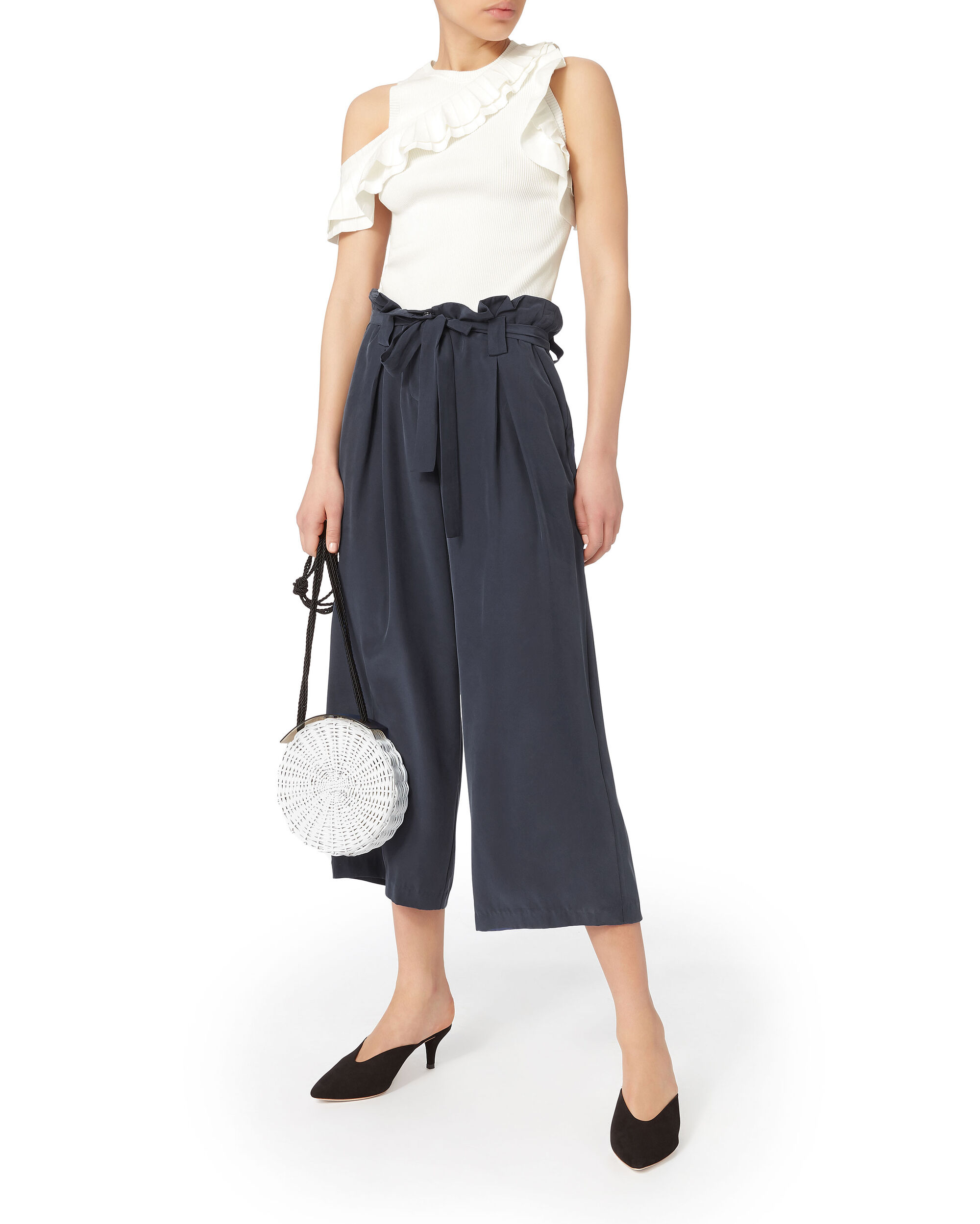 Samira Paperbag Pants, NAVY, hi-res