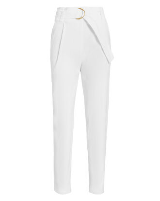 Diego Belted Linen-Blend Pants, WHITE, hi-res