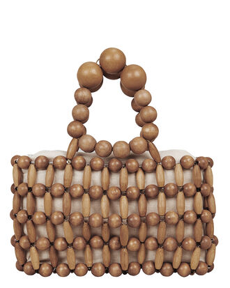 Cora Beaded Tote, TAN BAMBOO, hi-res