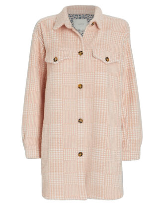 Edmond Checked Shirt Jacket, PINK/WHITE, hi-res