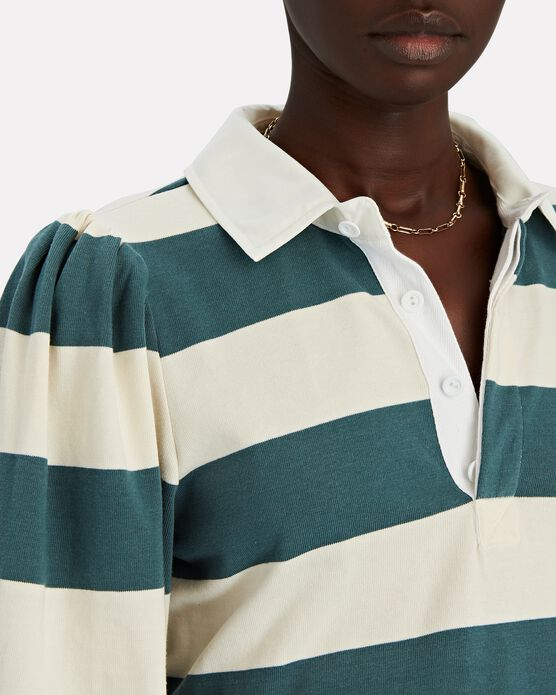VERONICA BEARD Cottons Presto Striped Puff Sleeve Rugby T-Shirt