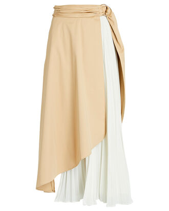 Sarah Pleated Wrap Skirt, KHAKI/IVORY, hi-res