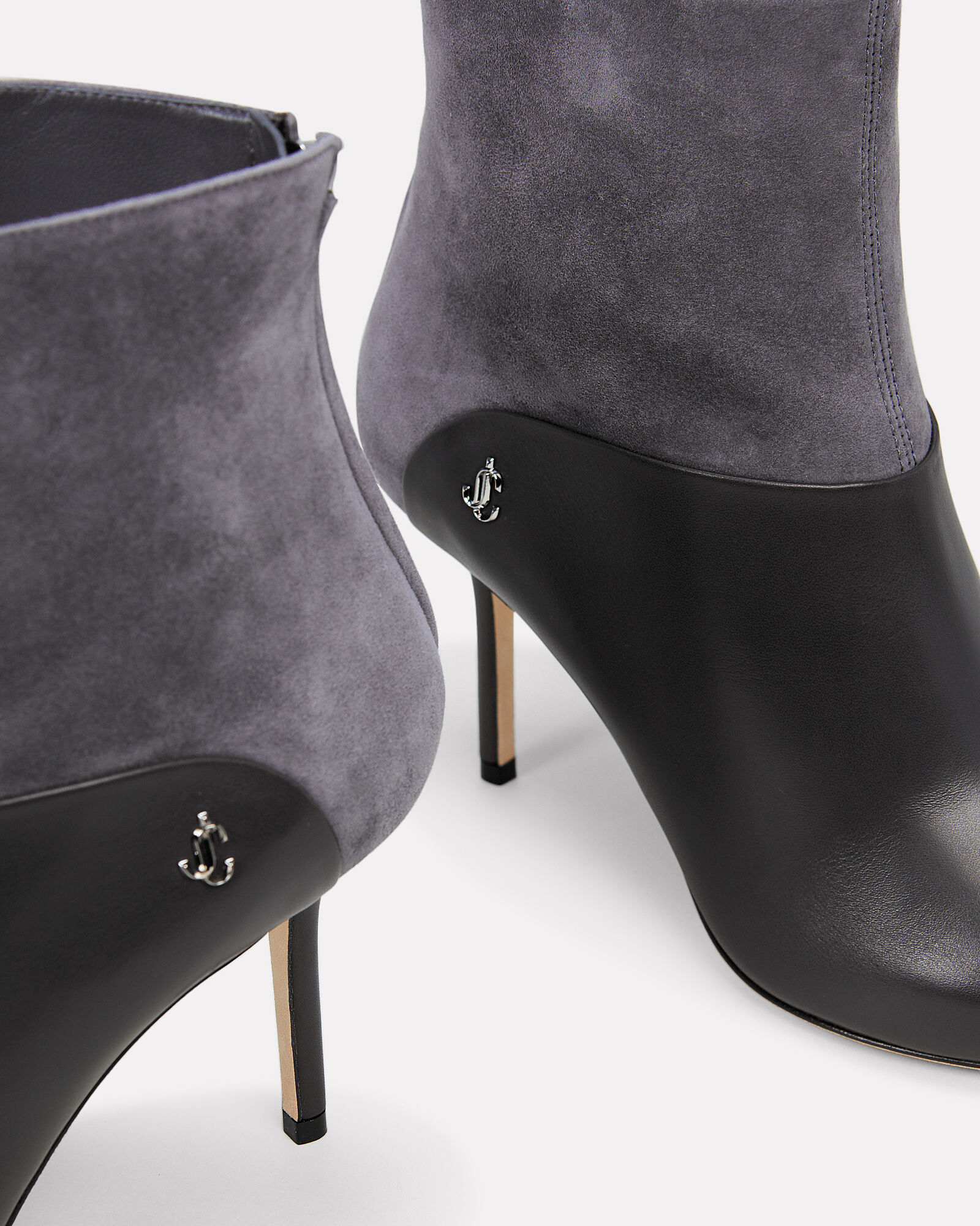 Beyla Suede and Leather Booties, GREY, hi-res
