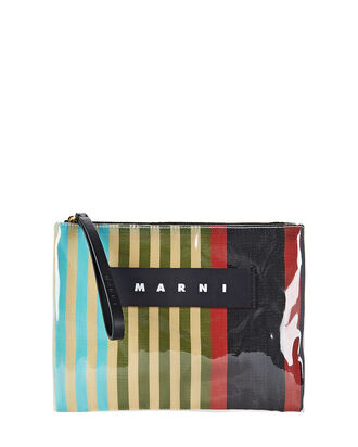 PVC Striped Canvas Pouch, KHAKI STRIPE, hi-res
