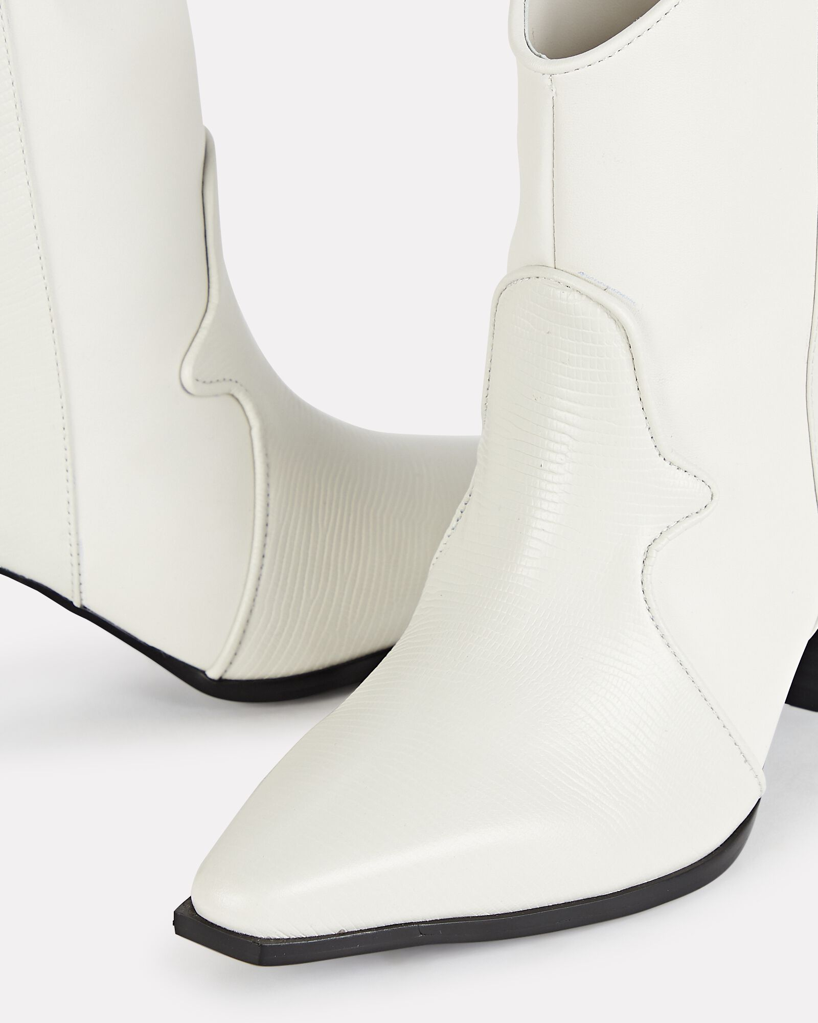 Quillan II Western Leather Ankle Boots, WHITE, hi-res