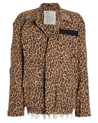 Abu Shredded Leopard Cotton Jacket, MULTI, hi-res