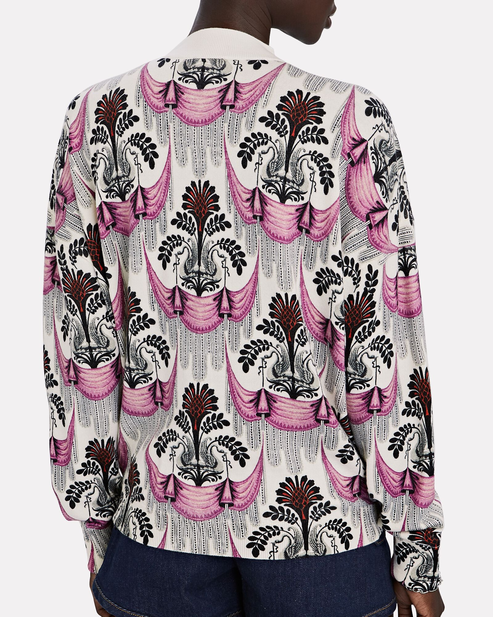 Printed Wool Sweater, WHITE/BLACK/PINK, hi-res