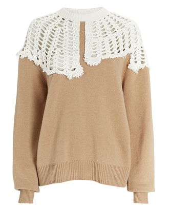 Lana Crochet Collar Wool Sweater, BEIGE, hi-res