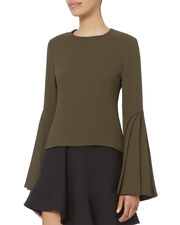 Layered Sleeve Olive Top, OLIVE/ARMY, hi-res