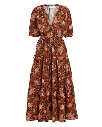 Mischa Floral Poplin Midi Dress, MULTI, hi-res