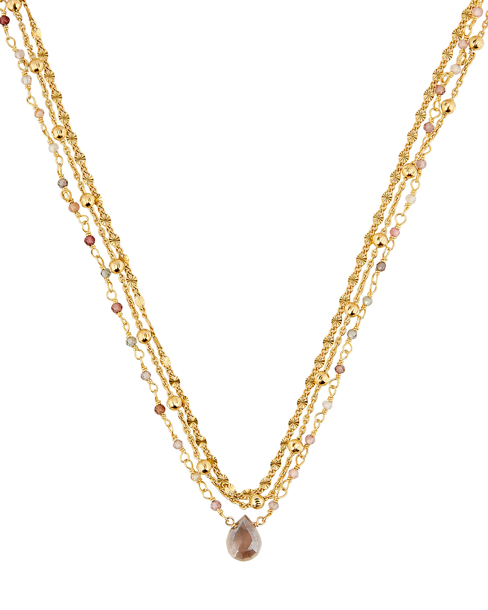 Lina Ball Chain Gemstone Necklace, GOLD, hi-res