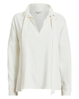 Chalky Drape Tie Neck Blouse, WHITE, hi-res
