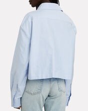 Cropped Cotton Button-Down Shirt, BLUE-MED, hi-res