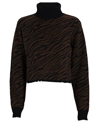 Beau Zebra Turtleneck Cashmere Sweater, BLACK/BROWN, hi-res