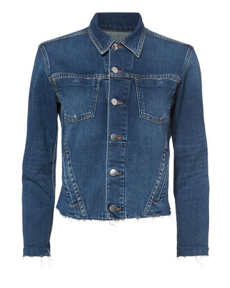 Janelle Cropped Denim Jacket, DARK BLUE DENIM, hi-res