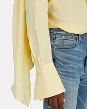 Crepe Scarf Blouse, YELLOW, hi-res