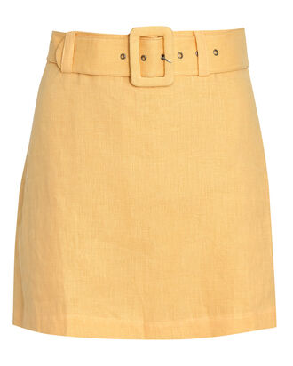 Celia Belted Linen Skort, ORANGE, hi-res