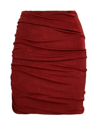 Cyrus Ruched Mini Skirt, RED, hi-res