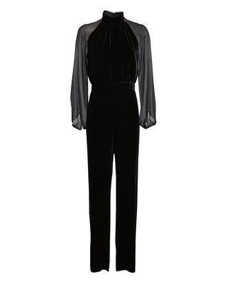 Stella Velvet High Neck Jumpsuit, BLACK, hi-res