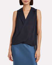 Freja Draped Silk Blouse, NAVY, hi-res