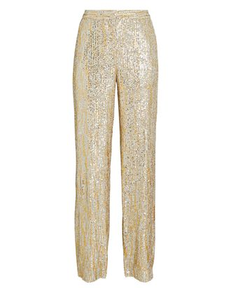Sylvana Sequined Wide-Leg Pants, GOLD, hi-res