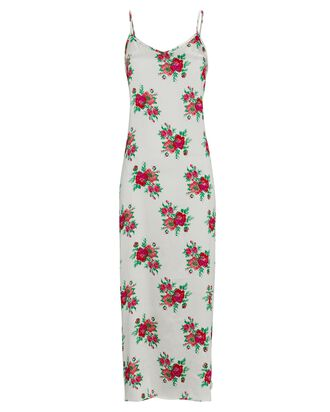 Floral Silk Slip Dress, LIGHT GREY, hi-res