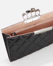 Quilted Four Ring Clutch, BLACK, hi-res