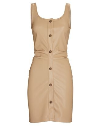 Sleeveless Vegan Leather Mini Dress, BEIGE, hi-res