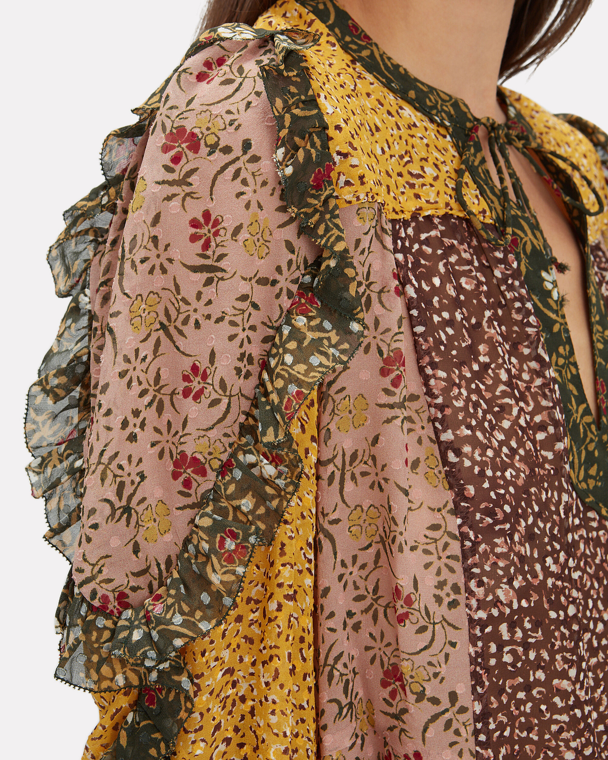 Norma Tropical Print Blouse, YELLOW FLORAL PATCHWORK, hi-res