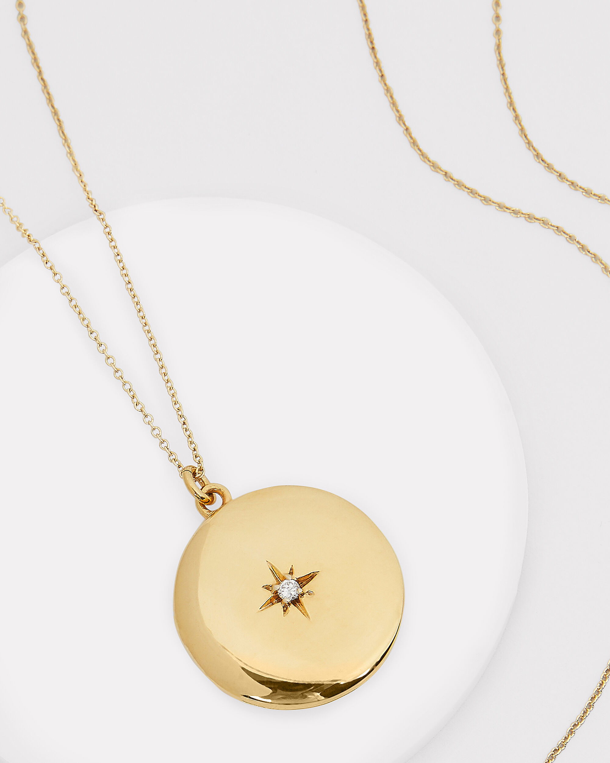 Maxine Round Locket Necklace, GOLD, hi-res