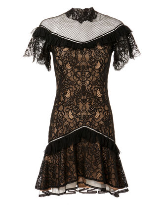 Mixed Lace Mini Dress, BLACK, hi-res