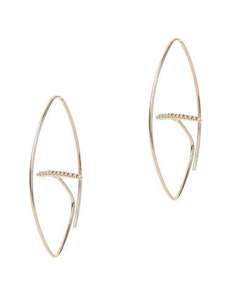 Floating Diamond Bar Oval Earrings, METALLIC, hi-res