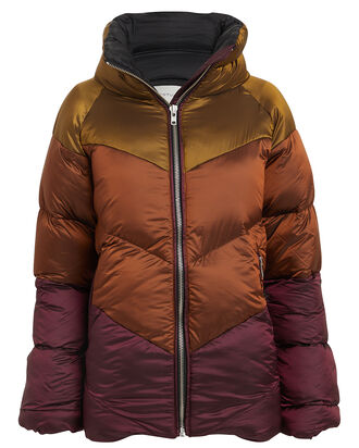 Helin Quilted Puffer Jacket, OCHRE/BURGUNDY, hi-res