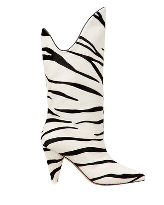 Betty Zebra Print Boots, BLK/WHT, hi-res