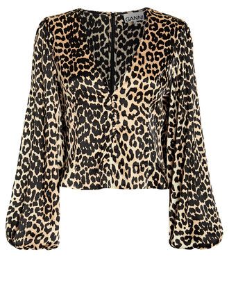 Leopard Print Silk Satin Blouse, BROWN/LEOPARD, hi-res