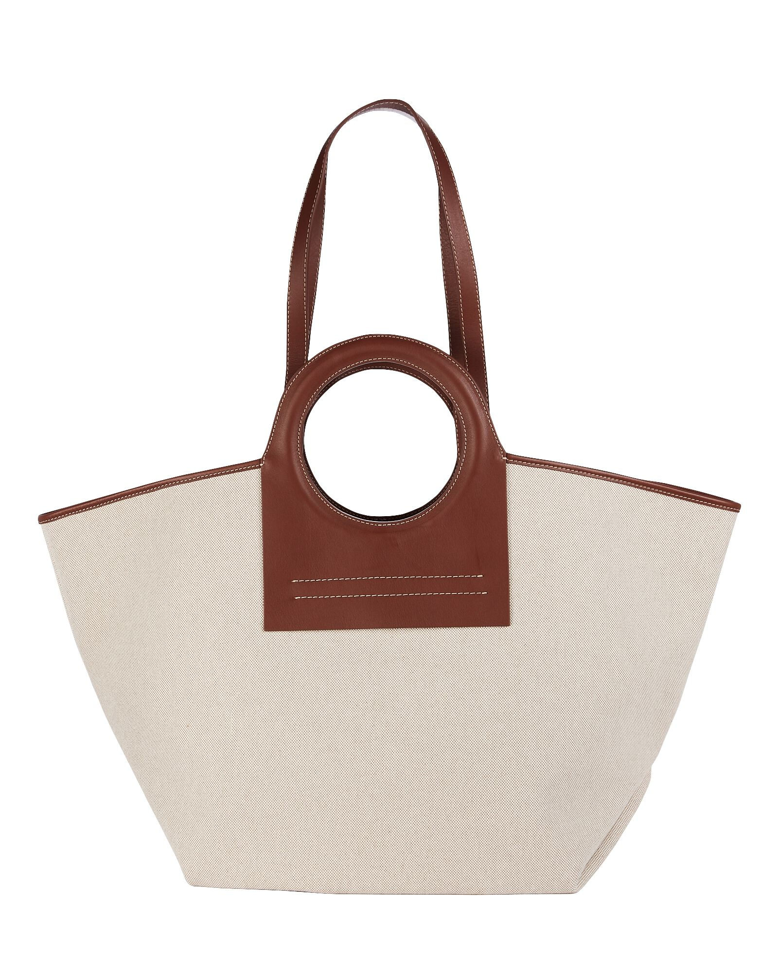 Cala Large Leather-Trimmed Canvas Tote, BEIGE, hi-res