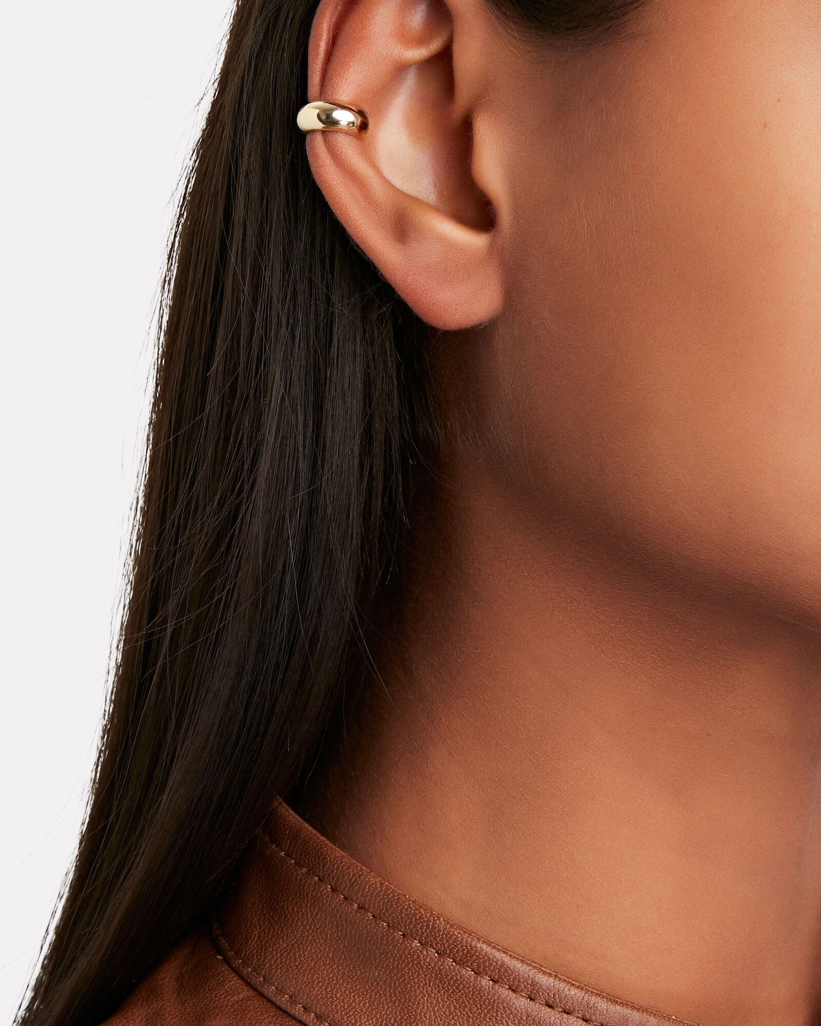 Thick Gold Single Ear Cuff, GOLD, hi-res