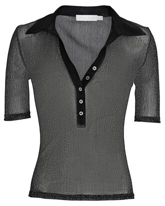 Jessica Shimmer Organza Polo Top, BLACK, hi-res