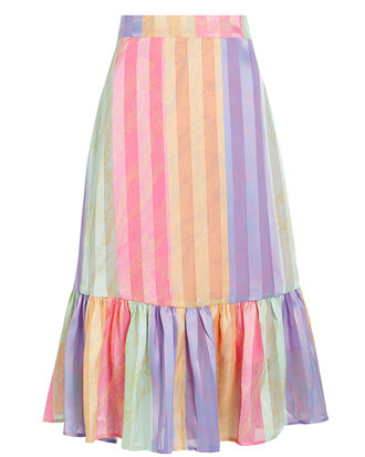 Leandra Striped Crepe Skirt, PINK/LILAC STRIPE, hi-res
