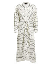 Striped Tie Front Dress, WHITE, hi-res