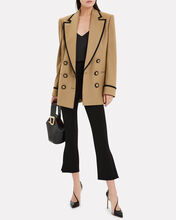 Contrast Trim Double Breasted Blazer, BEIGE, hi-res