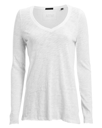 Slub Jersey V-Neck T-Shirt, WHITE, hi-res