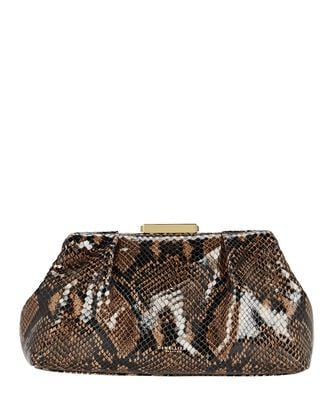 Mini Florence Snake-Embossed Pouch, BROWN, hi-res