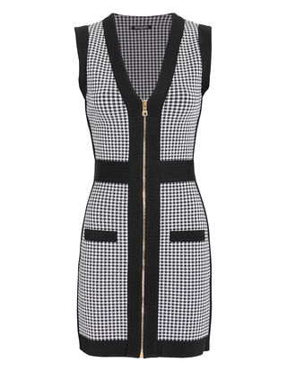 Houndstooth Zip-Up Mini Dress, BLK/WHT, hi-res