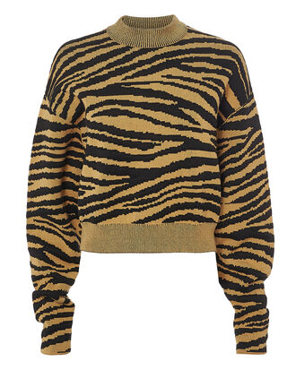 Tiger Jacquard Sweater, YELLOW, hi-res