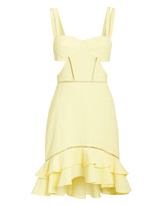 Seersucker Gingham Cutout Dress, YELLOW, hi-res