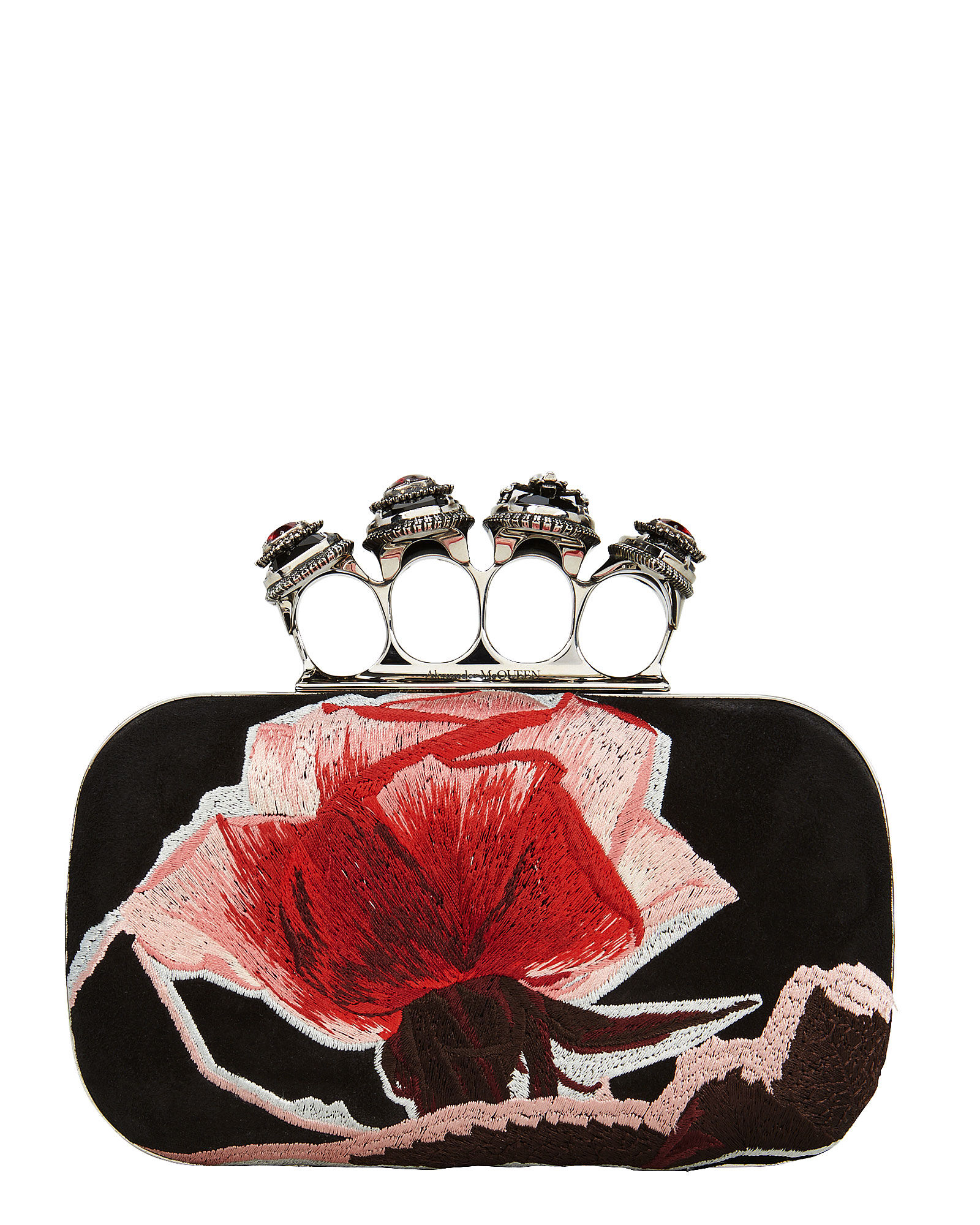 Suede Floral Four Ring Floral Clutch, MULTI, hi-res