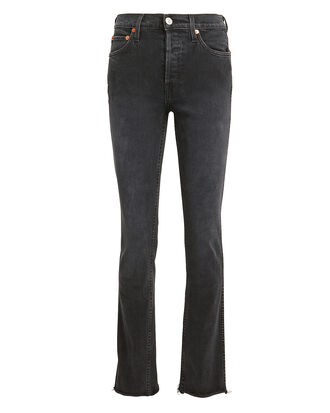 Double Needle Comfort Stretch Long Black Jeans, BLACK DENIM, hi-res