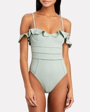 Irving Eyelet One-Piece Swimsuit, TURQUOISE, hi-res