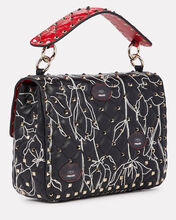 Rockstud Floral Embroidered Leather Bag, BLACK, hi-res